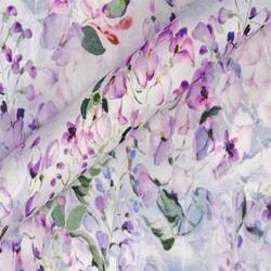 Tissu à imprimé floral en georgette de soie