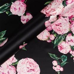 Tissu imprimé floral en crêpe satiné