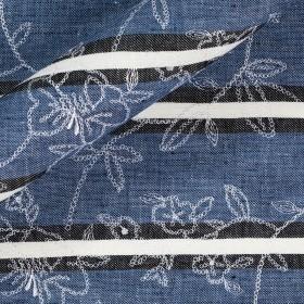 Tissu en lin Barré avec broderie florale