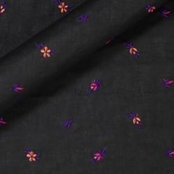 Tissu en coton avec micro broderie florale