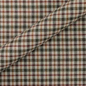 Tissu à carreaux en pure laine vierge, coton et lin