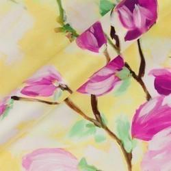 Tissu imprimé floral en sergé de soie