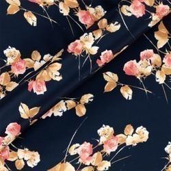 Tissu imprimé fleuri en crêpe satin de soie