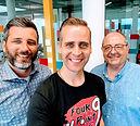 Pascal Pletsch, Bernd Tomaselli mit Coach Uwe J. Hackbarth