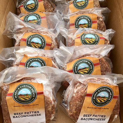 Box O' Bacon & Cheese Beef Patties