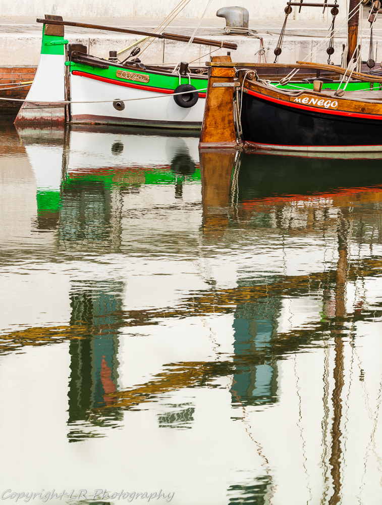 Moored Sailboats, Reflections