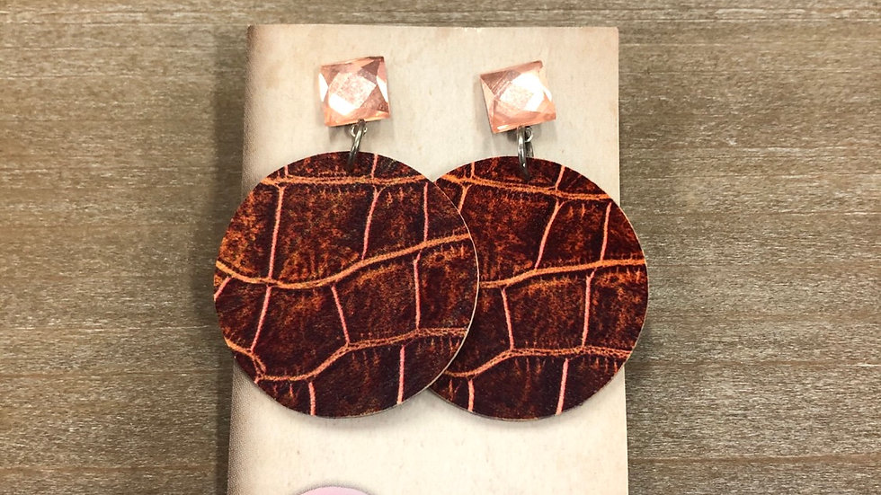 DANGLES LEATHER ROSE GOLD & BROWN TAN