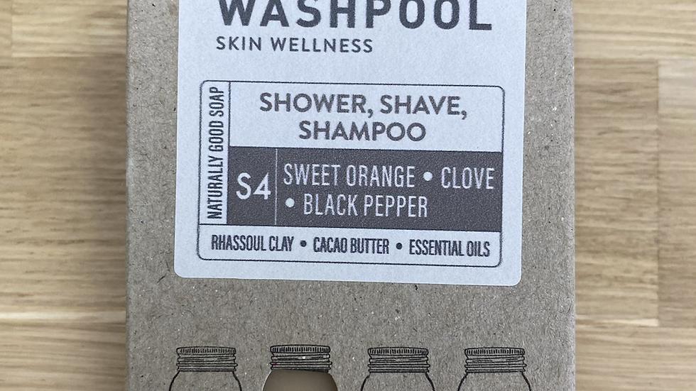 3 IN 1 SOAP - S4 SWEET ORANGE, CLOVE + BLACK PEPPER