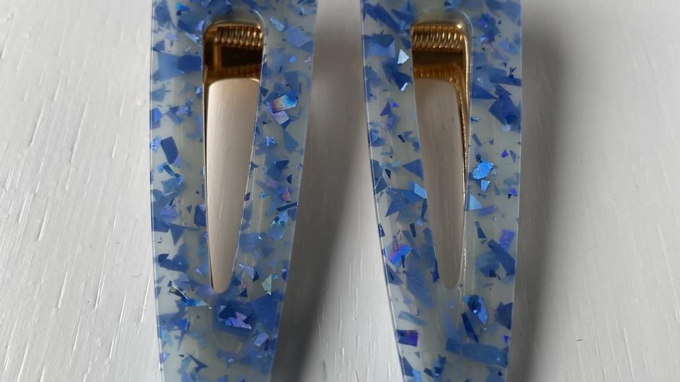 HAIR CLIPS SET BLUE ROUND POINT #182