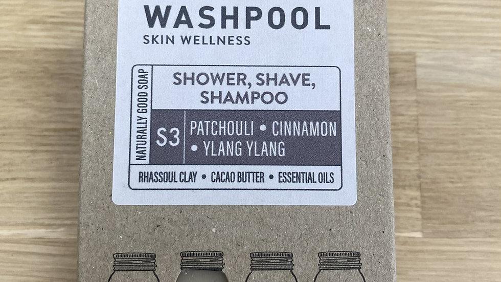 3 IN1 SOAP - S3 PATCHOULI, CINNAMON + YLANG YLANG