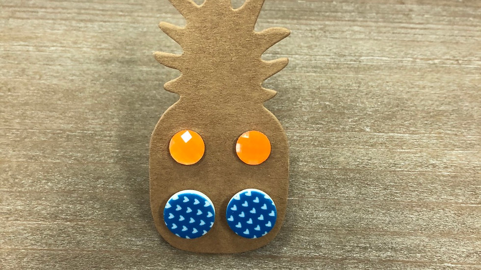 PINEAPPLE BLUE & ORANGE STUDS