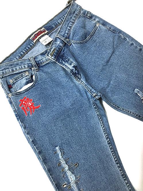 Refashioned Patch Denim Pants