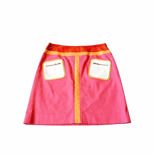 Colorblock Pink Denim Pocket Skirt