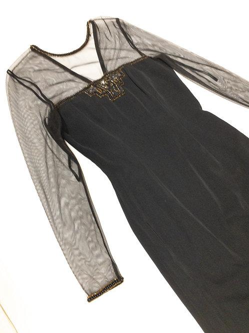 Sheer Top Beaded Trim Dress