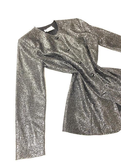 Metallic Gray Button Down Blazer
