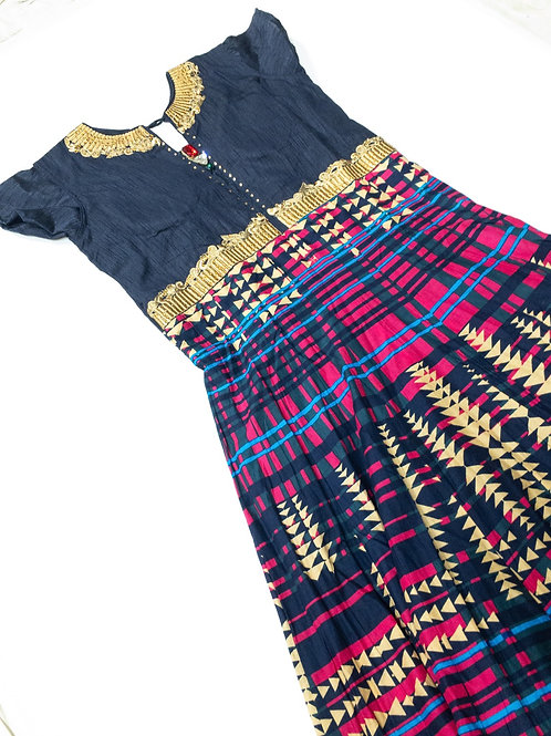 Multicolor Print Midi Length Dress