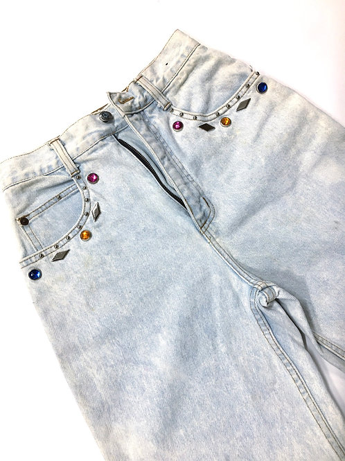 Light Wash High Waist Bejeweled Denim Pant