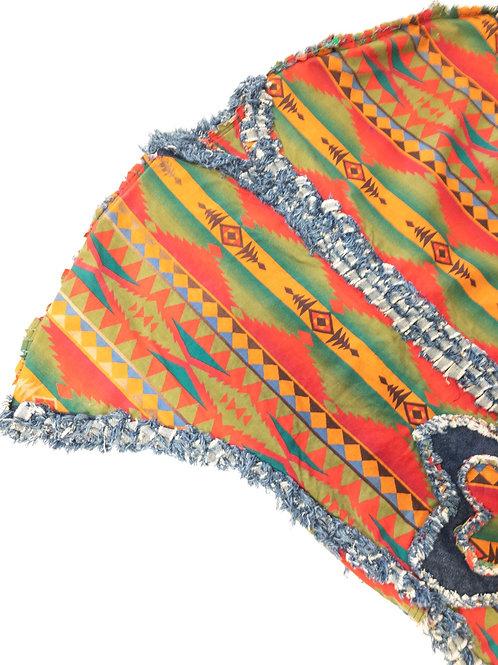 Ethnic Print Denim Fringe Jacket