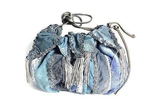 Blue Suede Tassel Hobo Bag
