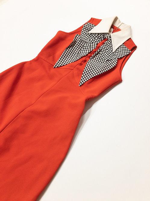 Vintage 70s Checker Bow Dress