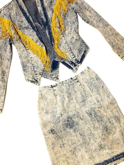 Denim Fringe Skirt Set