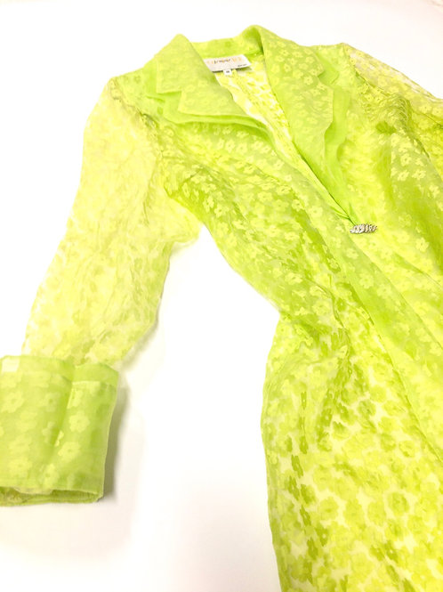 Sheer Lime Floral Duster