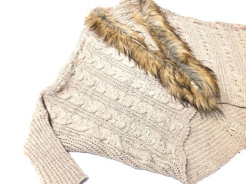 Casual Faux Fur Trim Sweater
