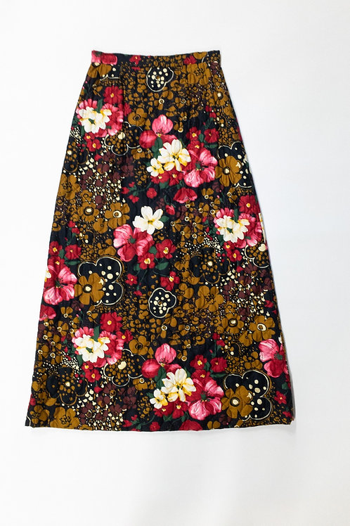 Quilted A-Line Floral Print Skirt