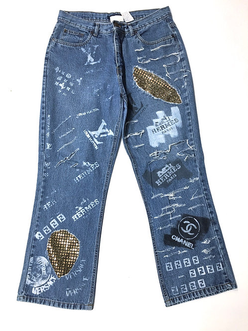 Refashion Denim Pant Metallic