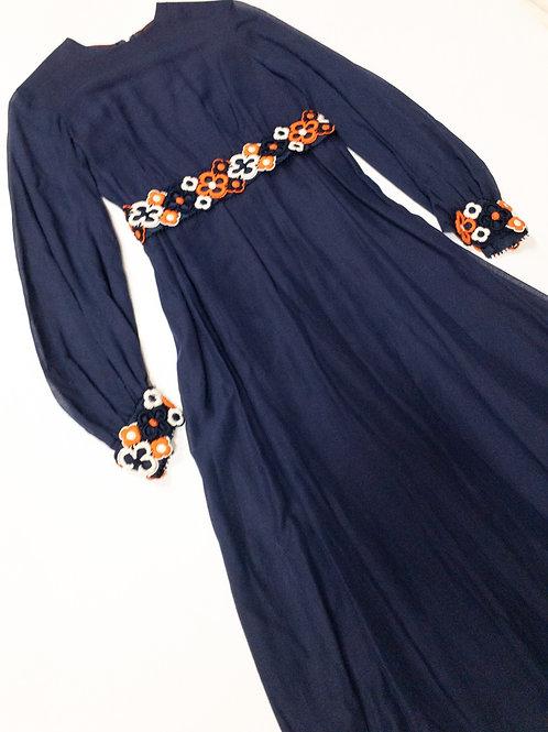 VTG Dress Floral Trim Dress S