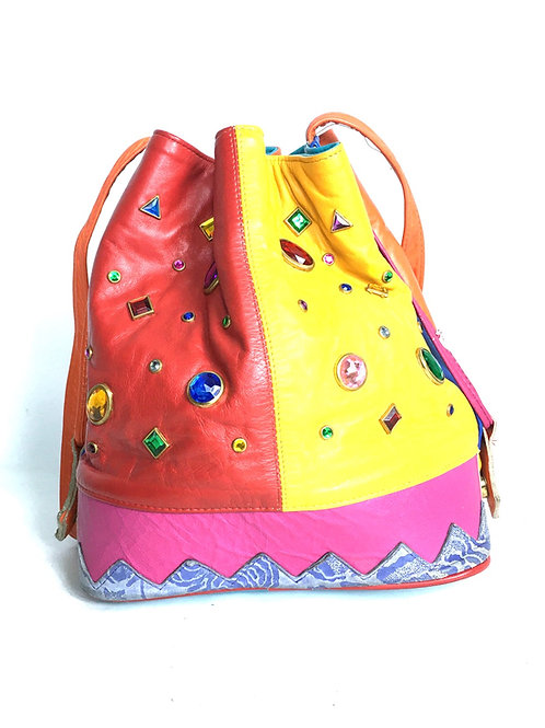 Multicolor Stud Bucket Bag