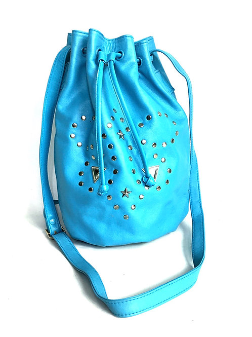 Blue Leather Silver Stud Bucket Bag