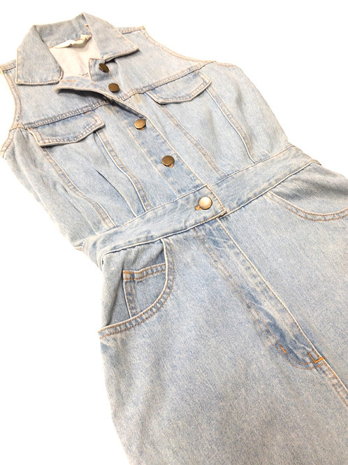 Denim Button Down Fitted Dress