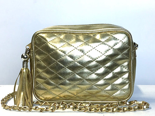 Gold Quilted Chain Strap Purse