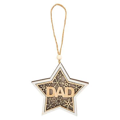 "4"" WOOD DAD STAR ORNAMENT"