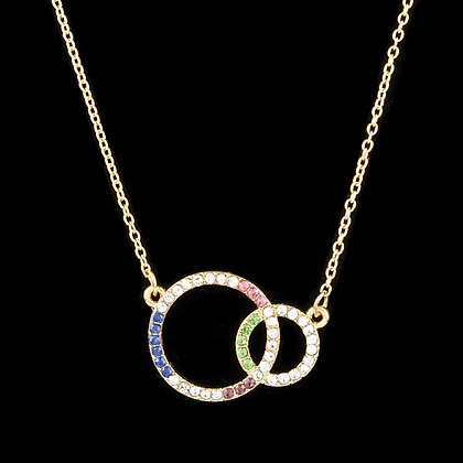 DOUBLE CIRCLES STONE NECKLACE