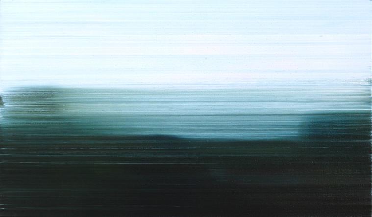 Surveillance I, 2014, oil on board 23 x 40 cm  • Private collection