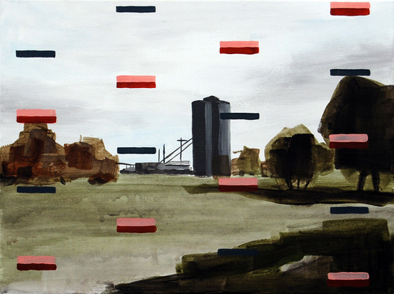 Refinery, 2013, oil and acrylic on canvas 23 x 30 cm  • Private collection