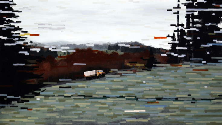 Arma Two, 2013, acrylic and oil on board, 40 x 70 cm   • Private collection