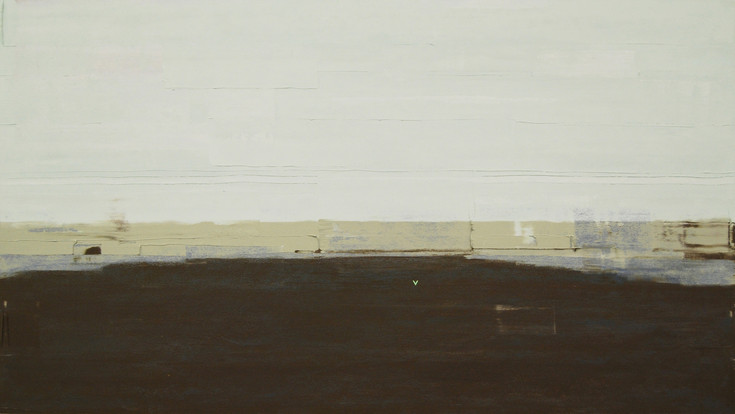 Lock Collision, 2013, oil and acrylic on board 56 x 100cm  • Curtin University Collection
