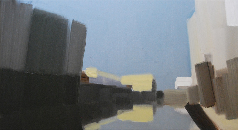 Data Stream, 2014, oil and acrylic on canvas, 25 x 46 cm  • Private collection