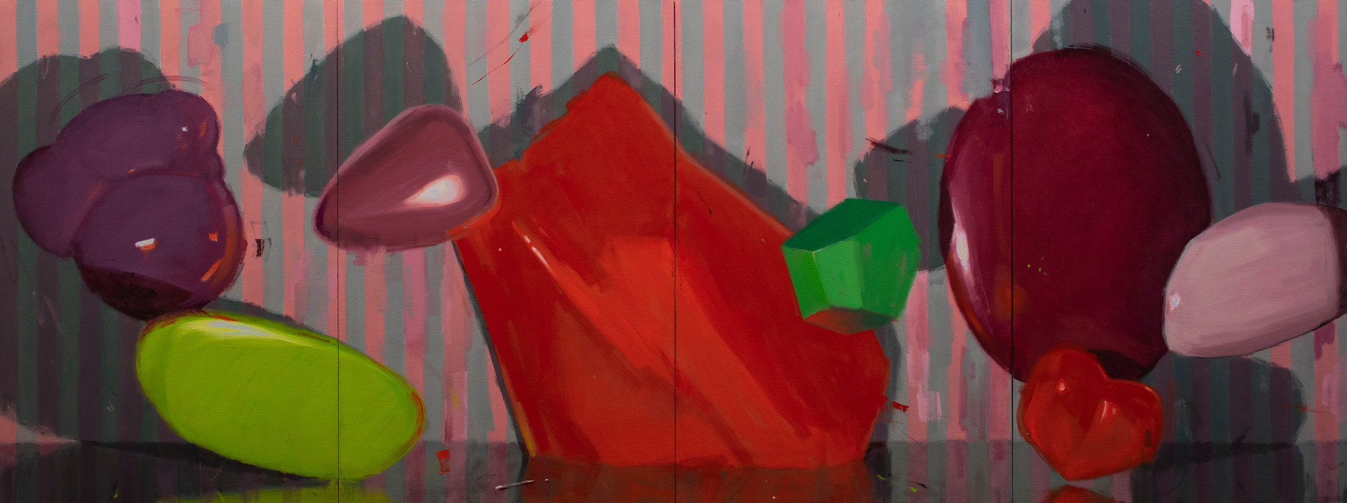 Thingspan (quadriptych), 2020, oil on canvas, 75 x 200 cm