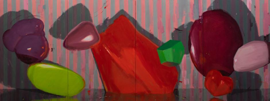 Thingspan (quadriptych), 2020, oil on canvas, 75 x 200 cm  • Available