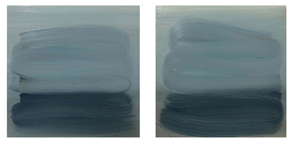 Simulus 1 (diptych), 2015, oil on board 23 x 23 cm each  • Available