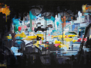 Backseat, 2009, acrylic and collage on board  • Private collection