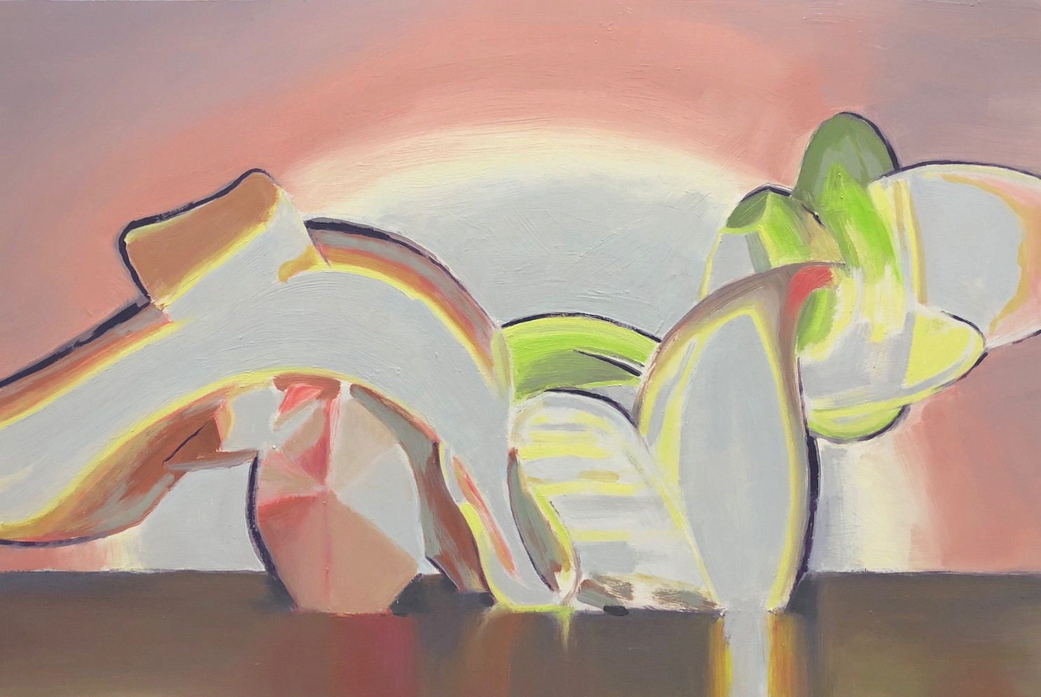 Pushing Spectres, 2018, oil on wood panel 40 x 60 cm  • Private collection