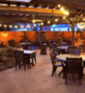 Our covered patio is open year round and heated during the winter