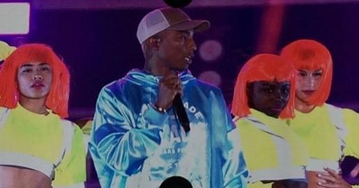 Pharrel at the Grammy Festival