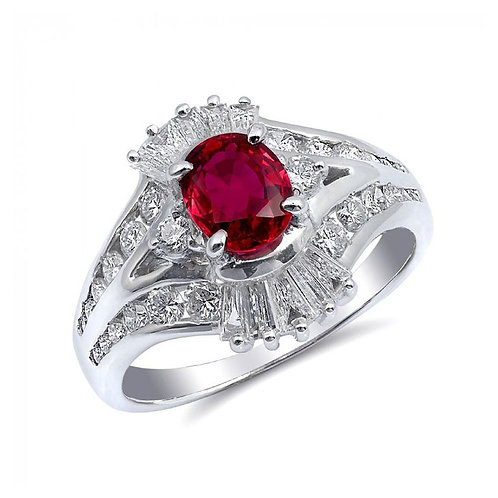 Platinum 1.51ct TGW Natural Heated Ruby and Diamond Ring