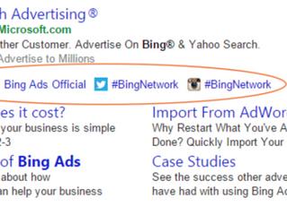 Bing Ads testa extensões sociais: Facebook, Twitter, Instagram, Tumblr
